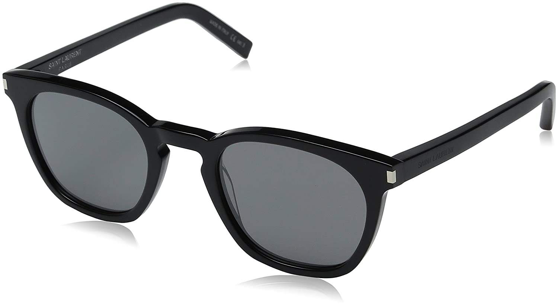 d7ff5be885db Amazon.com: Saint Laurent Unisex SL 28 Black/Solid Silver Sunglasses:  Clothing