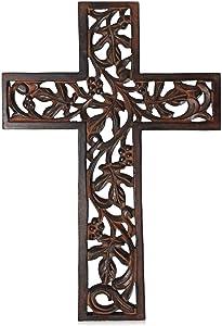 Nirvana Class Wooden Wall Hanging Cross Handmade Antique Design Religious Home Living Room Décor Accessory
