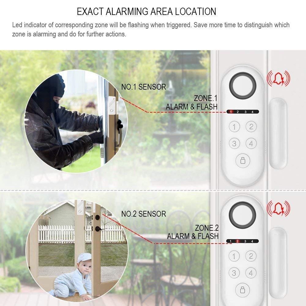ERAY D3 Alarmas para Casa Inalámbrica Antirrobo - 1 x Alarma de Puerta + 2 x Sensores de Puerta/Ventana + 1 x Mando a Distancia + Pilas Incluidas ...