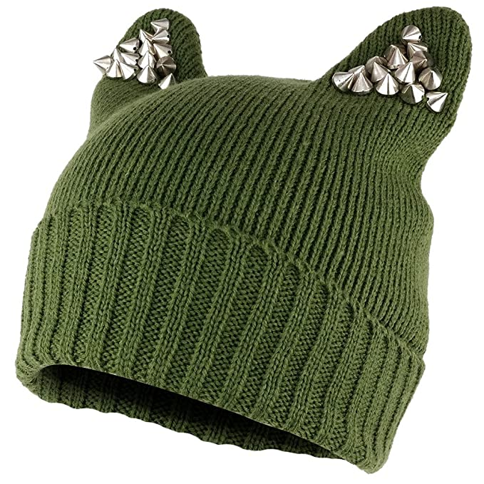 14c56d93 Pussyhat Women's Spiked Stud Cat Ear Beanie Hat - Olive at Amazon ...