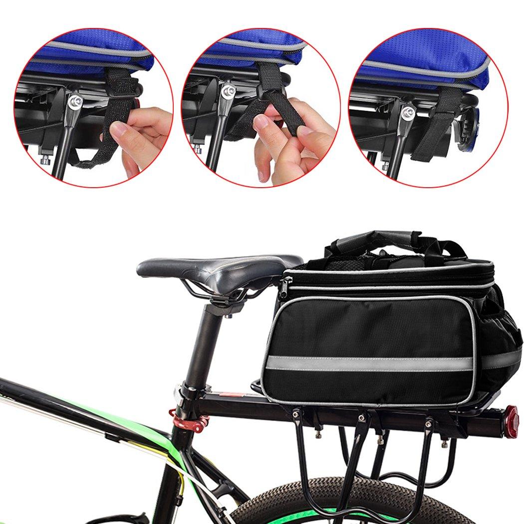 FLYDEER Bike Pannier Bag Outdoor Waterproof Bicycle Rack Bag Large Capacity 25L Bike Rear Seat Trunk Bag with Rainproof Cover /& Reflective Trim KingRui