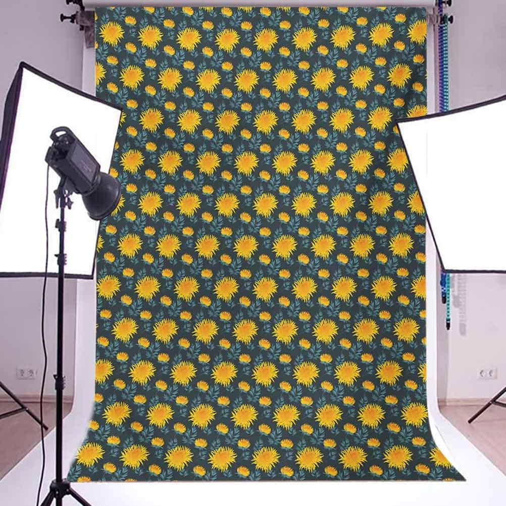Flower 10x15 FT Backdrop Photographers,Yellow Chrysanthemum Blossoms on Dark Backdrop Natural Ornament Background for Kid Baby Boy Girl Artistic Portrait Photo Shoot Studio Props Video Drape Vinyl