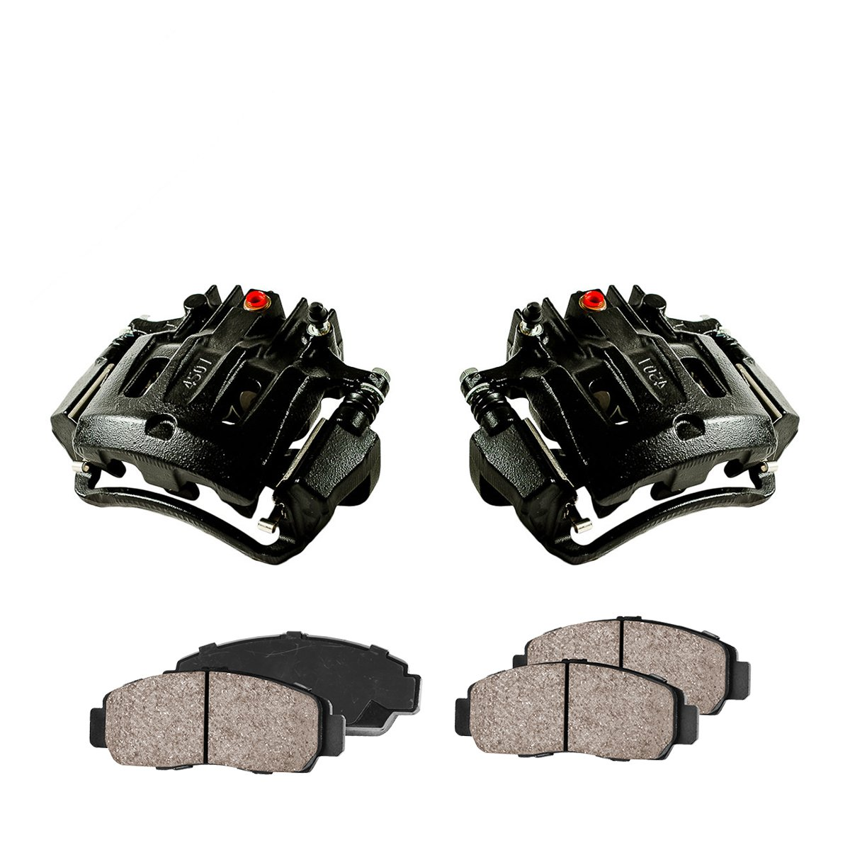 CCK02399 [2] REAR Performance Black Powder Coated Calipers + [4] Quiet Low Dust Ceramic Brake Pads Callahan Brake Parts
