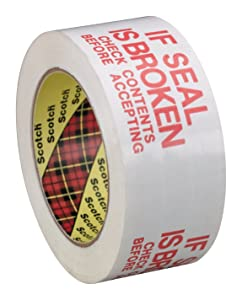 Scotch Printed Message Box Sealing Tape 3771, White, 48 mm x 100 m