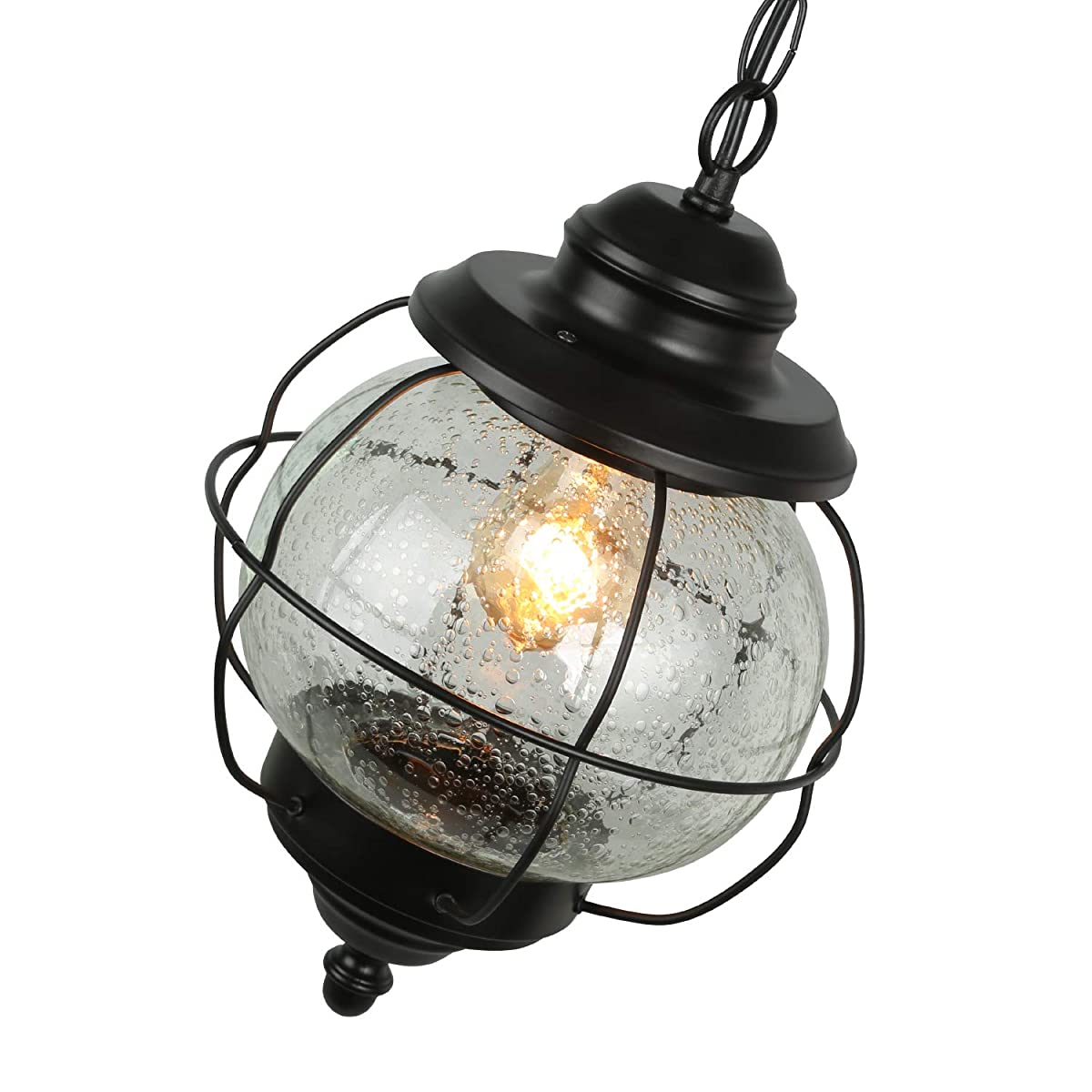 LALUZ Globe Hanging Pendant Light Fixture Outdoor Ceiling Lighting with Seeded Glass Shade