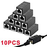 5/10 PCS RJ45 Ethernet Connectors Cat 7 Cat6 Cat5 Cat5e RJ45 8P8C Network Keystone Jack In-Line Coupler Ideal for Extending the Ethernet Cables Female to Female (Black ) (10PCS)