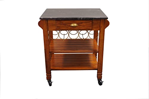 Bernards Oak Caster with Marble Top Kitchen Island