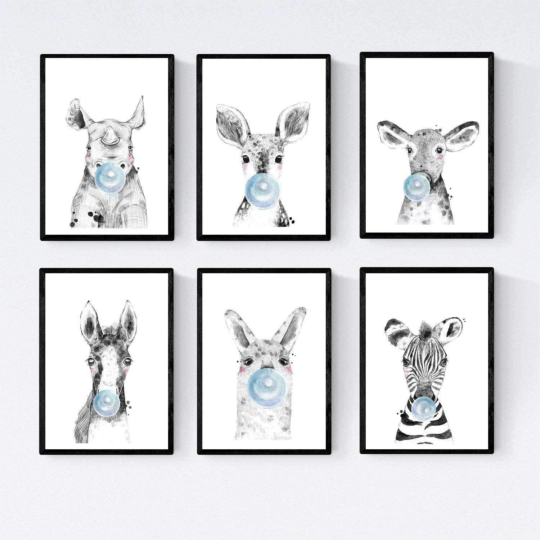 Nacnic Set 6 Posters Animales Bebes con Chicle. Zebra Rino Ciervo Vaca Caballo Llama.Tamaño A4