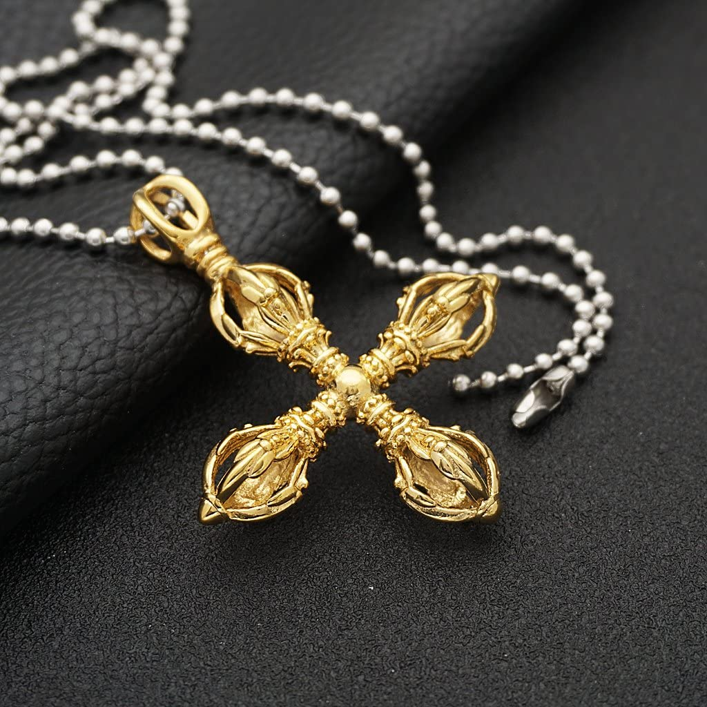 Prettyia 2pcs Unisex Vintage Vajra Pestle Cross Necklace Pendant Ball Beads Chain