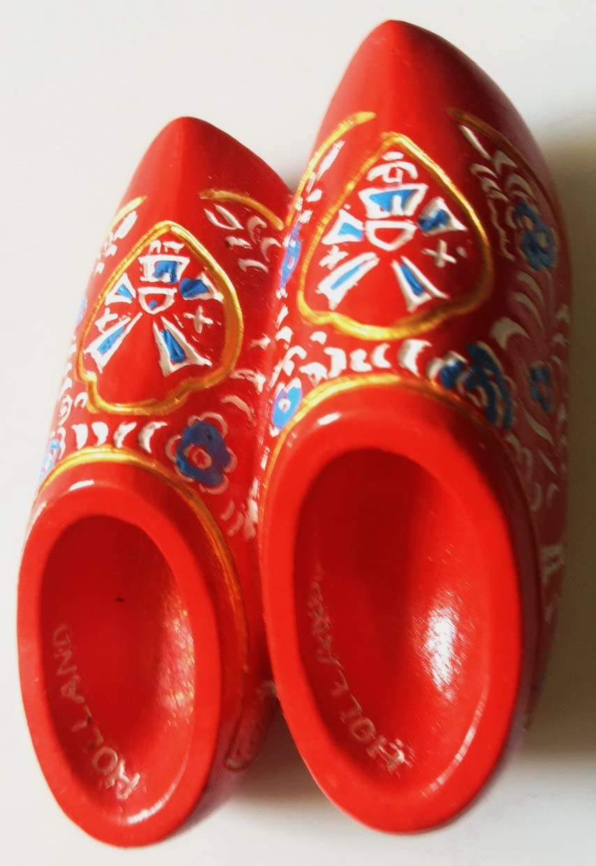 Red Wooden Shoes HOLLAND Dutch Resin 3D fridge Refrigerator Thai Magnet Hand Made Craft.