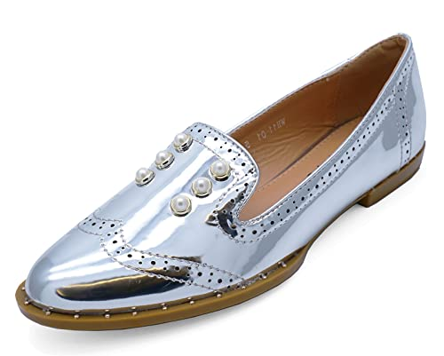 e54c5085ec3 Ladies Silver Patent Slip-On Flat Loafers Smart Casual Comfy Work Shoes  Sizes 3-