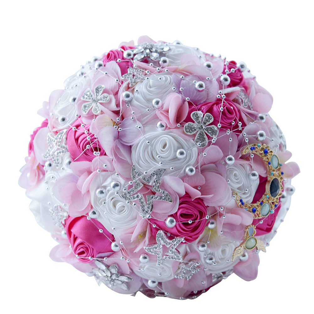 Wedding Bouquets,Amoleya 8 Inch Bridal Bouquets Bridesmaid Bouquet for Wedding with Brooches and Satin Artificial Flowers