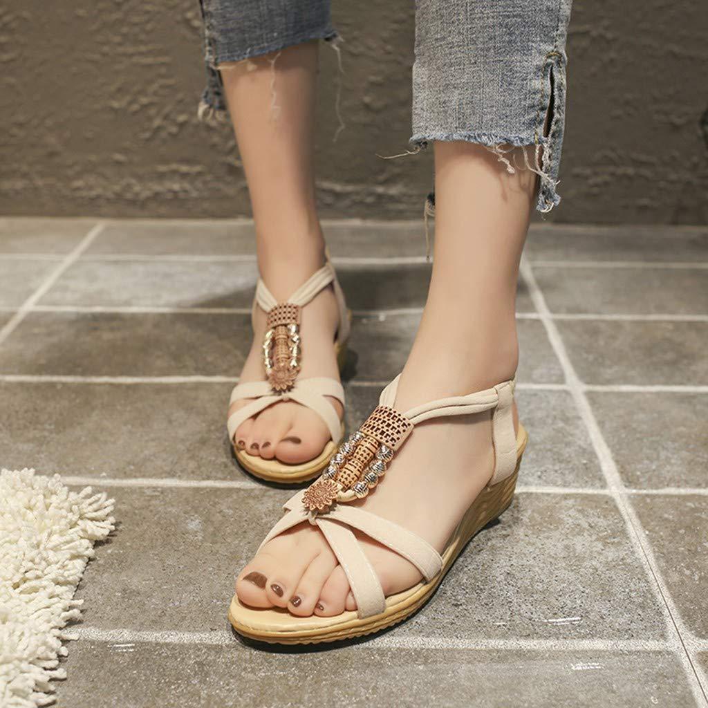 SUSENSTONE Womens Summer Bohemia Beach Ladies T-Tied Sandals Elastic Flatform Shoes