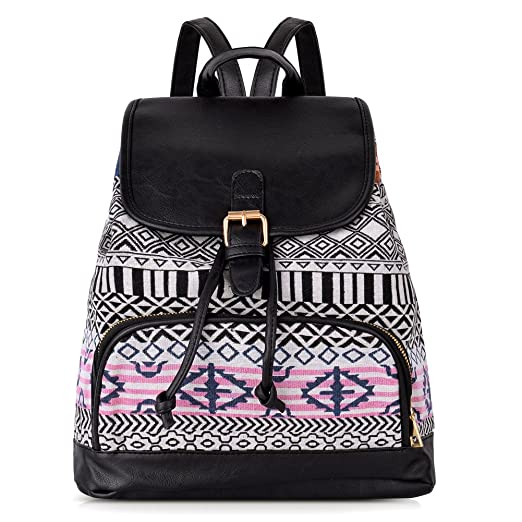 Vibiger Stylish Canvas Backpack Casual Bag Drawstring Backpacks School Bag Daypack with Delicate Printing for Women (A-white)