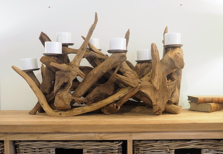 Reclaimed Wood Candle Holder Extra Large - Teak Root Unique Style - Rustic  Pillar Holder: Amazon.co.uk: Kitchen & Home