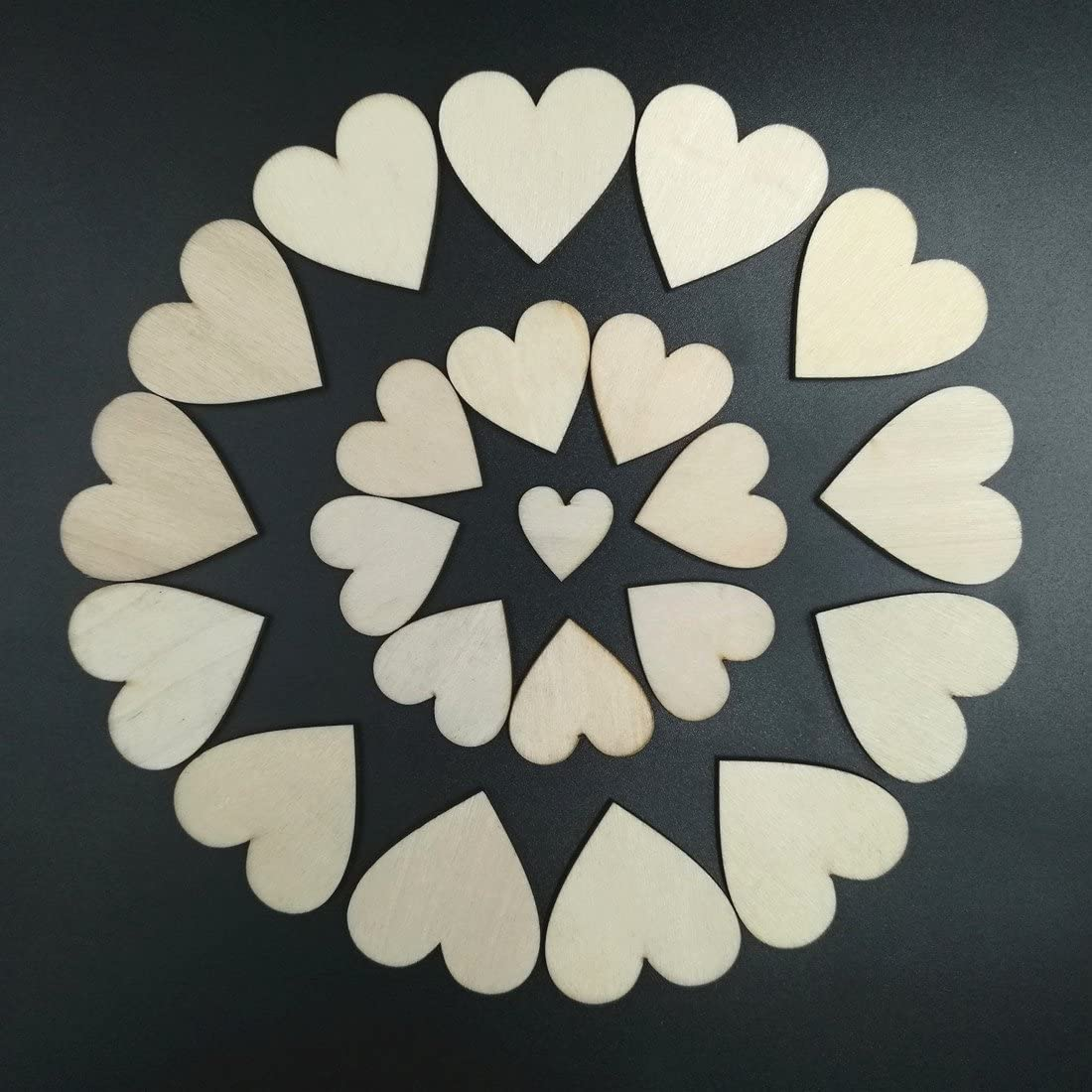Wood Heart Kalevel 100pcs Rustic Wedding Decorations Wood Party Decorations Wedding Supplies Blank Wedding Wooden Hearts Table Scatter Engagement Party Decorations Rustic Party Supplies