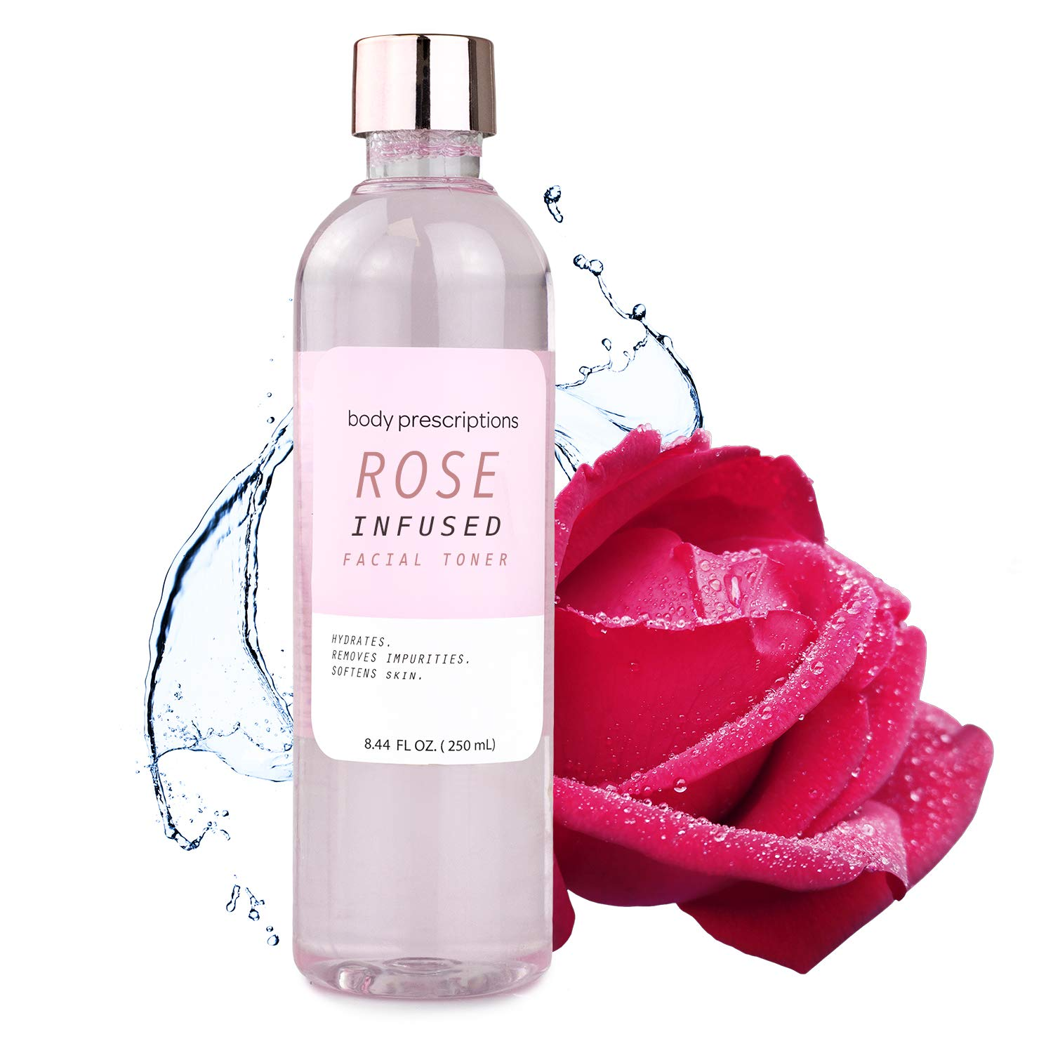 Body Prescriptions Rose Infused Toner for Smooth Skin, Facial Toner for Women, Radiant Cleanser, Hydrating Toner, Removes Impurities, Softens Skin 8.4 Fl Oz
