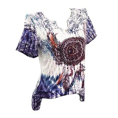 a35c91ac7a7f95 Yying Sommer T-Shirt Blumendruck Bluse Tops Frauen Digitaldruck Plus Größe  Kurzarm Top Grün Rot Blau M-5XL  Amazon.de  Bekleidung