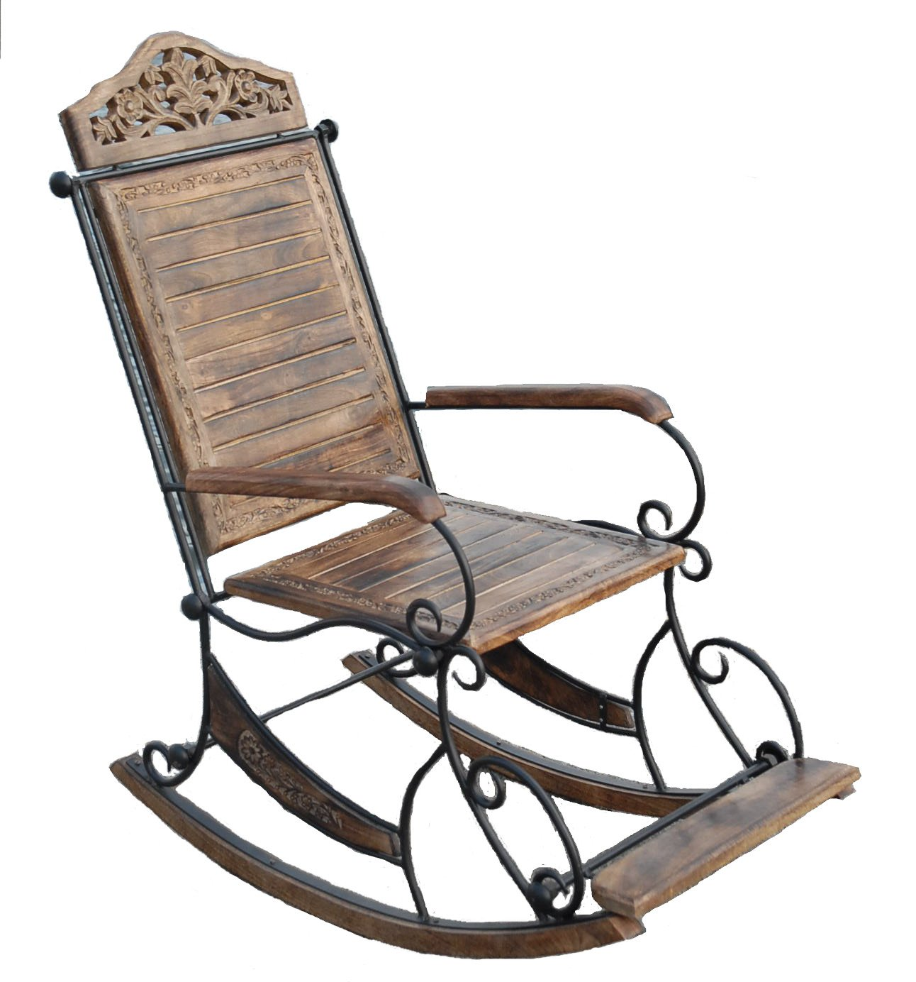Groovy Rocking Chair Seat Solid Mango Wood Wrought Iron Living Camellatalisay Diy Chair Ideas Camellatalisaycom
