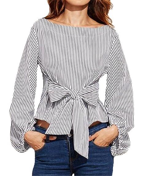 Tayaho Camisetas de manga larga Mujeres Camisa Rayas Gasa Blusa Asimétrico Bonitas Camiseta Corto Universidad Tops