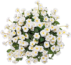 Artificial Small Rose Wildflowers Fake Outdoor Flowers Bouquet Silk Floral Indoor Outside Hanging Planter Home Kitchen Office Wedding Garden Decor 3pcs(White)