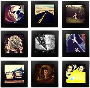 Tiny Mighty Frames 9-Set, Natural Wood, Square, Instagram, Photo Frame, 4x4 (9, Black)