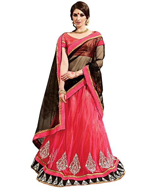 001a1fff34f Inddus Women s Unstitched Embroidered Net Lehenga Choli (Pink and Black