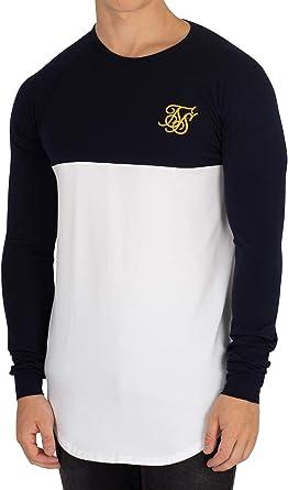 TALLA XS. Sik Silk Hombre Camiseta de Gimnasio Raglan Longsleeved, Blanco