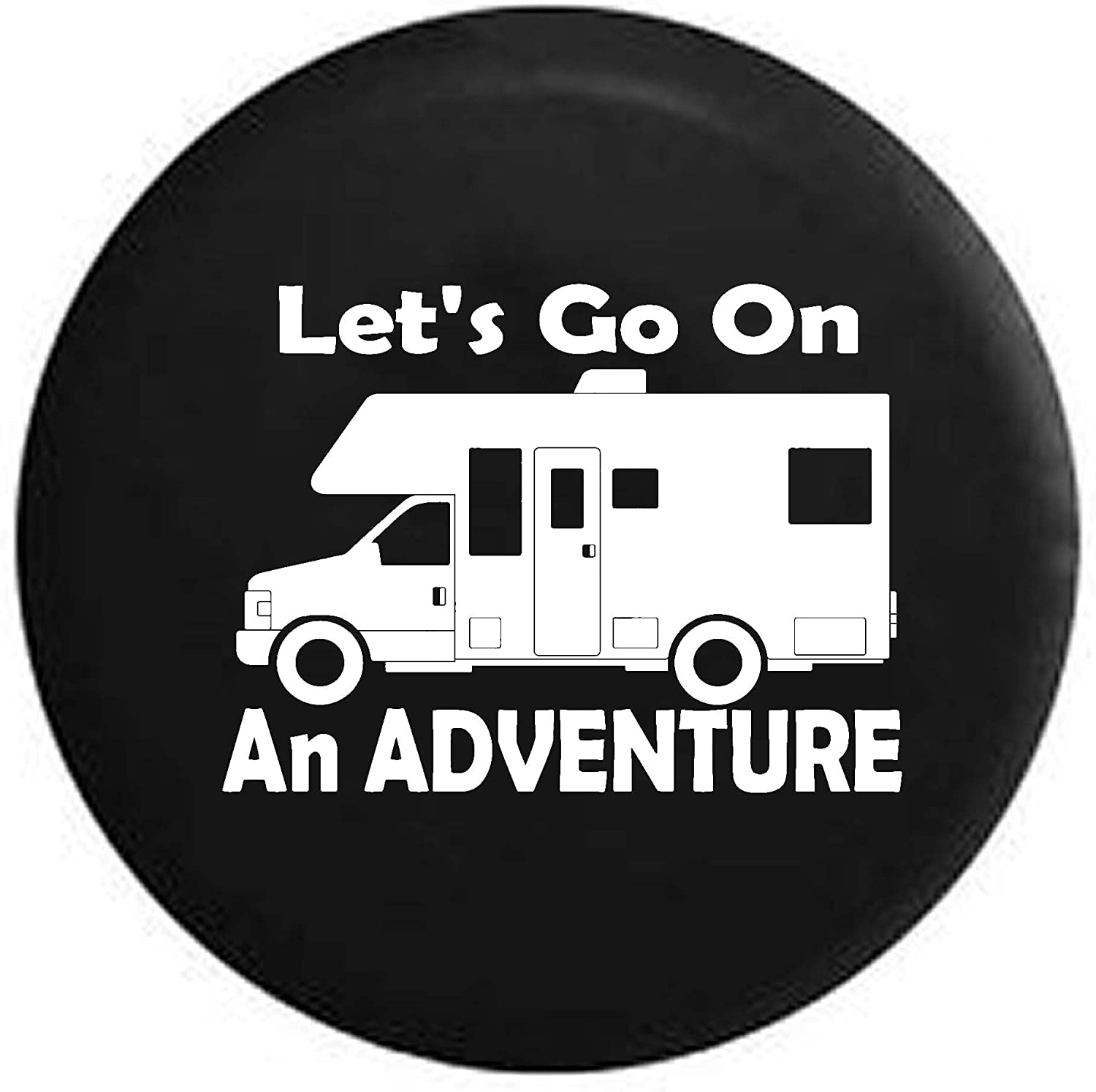 Lets Go on an Adventure RV Motorhome Camping Travel Spare Tire Cover OEM Vinyl Black 31 in Pike Outdoors Tan