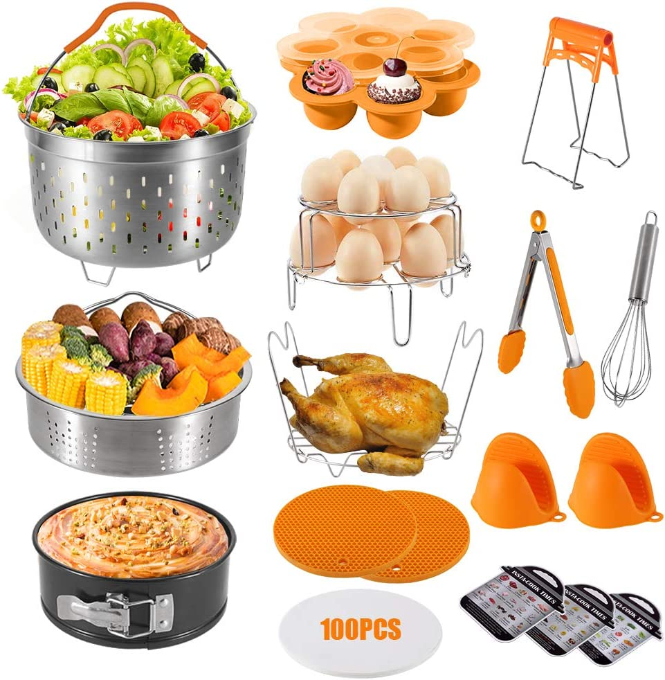 amorus 18 pieces Pressure Cooker Accessories Set for Instant Pot 6 8 Quart - 2 Steamer Baskets, Springform Pan, Egg Bites Mold, Egg Beater, 2 Silicone Trivet Mats (Orange)