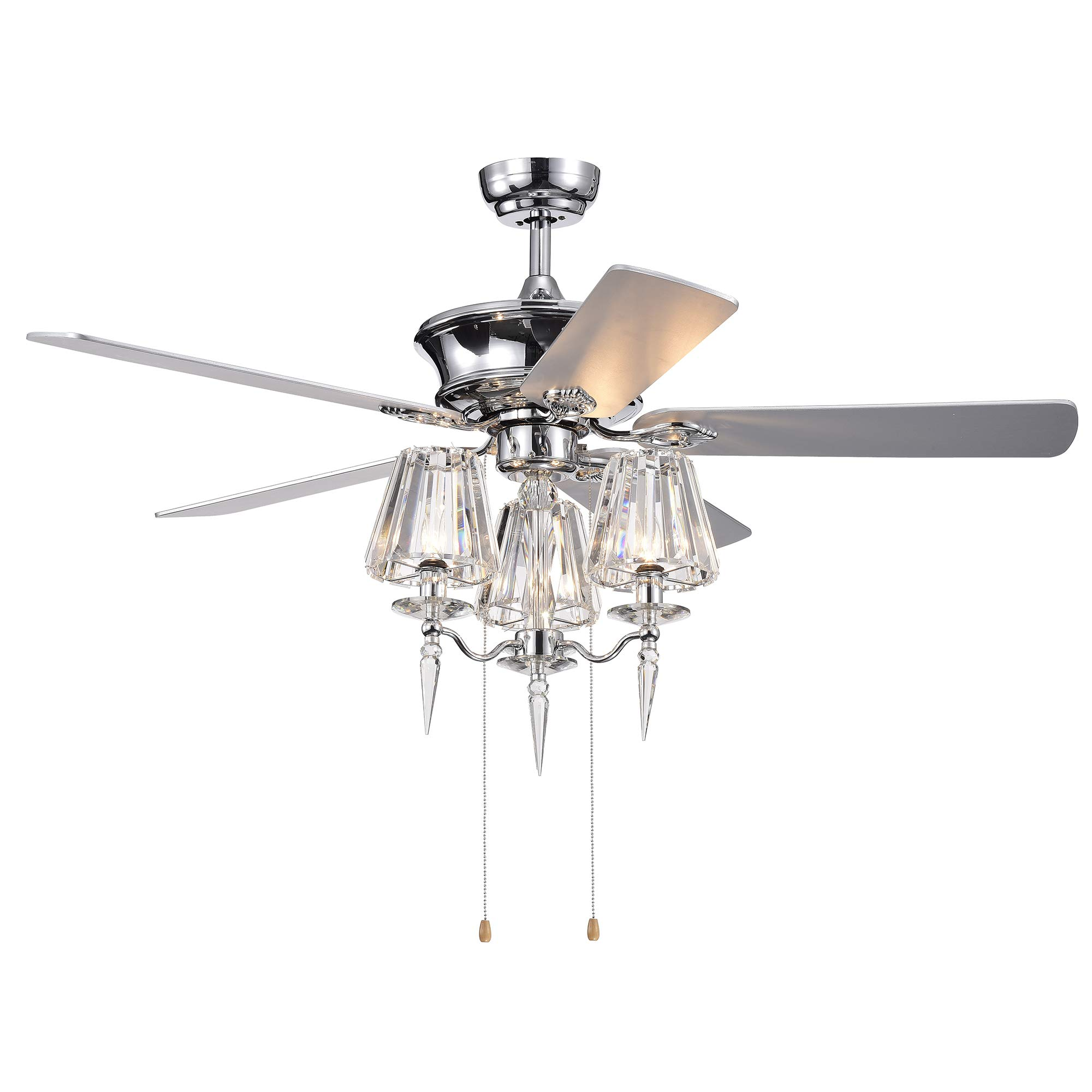 Warehouse Of Tiffany CFL-8363CH Onwen 52-inch 5-Blade Chrome Lighted Ceilng Crystal Lamps (Optional Remote) Ceiling Fan,