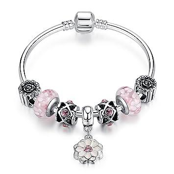 Cadeau de Noël Femmes Fille Bracelet en Rose Fleur Perles Murano Plaqué  Argent Bijoux Fantaisie 852508975585