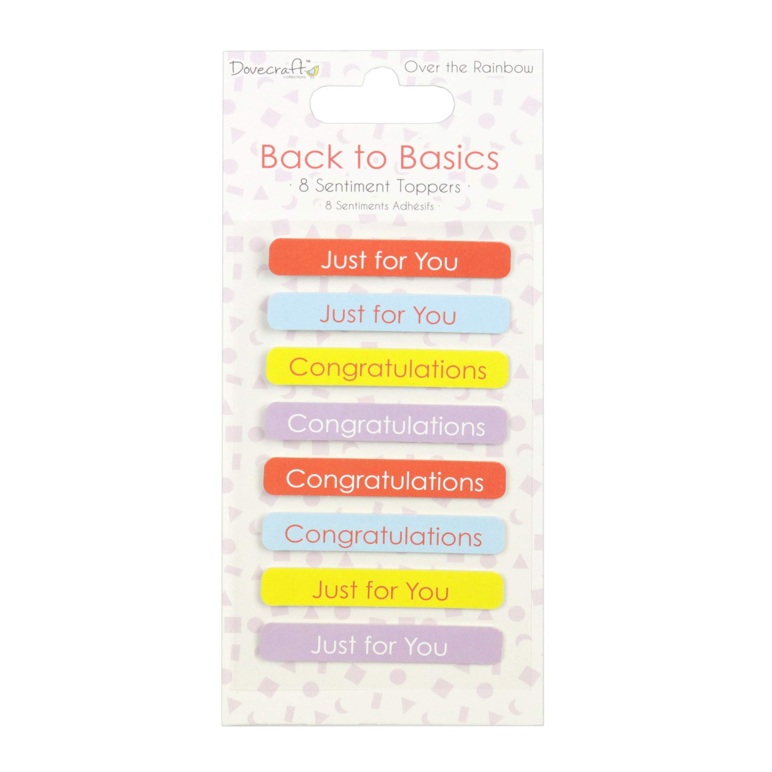 Dovecraft Back to Basics Over The Rainbow Sentiment Toppers, Multicolour, 1