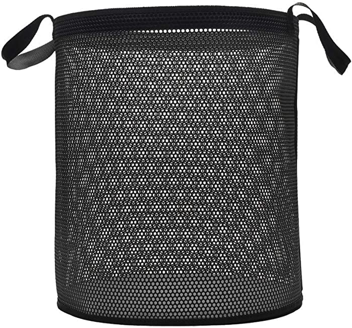 AKPOSE Laundry Basket Hamper Foldable Laundry Bin - Clothes Hamper with Reinforced Edges, Round Plastic Storage Basket Bin for Organizing Clothes Laundry Toys, Grey, D15 x H17