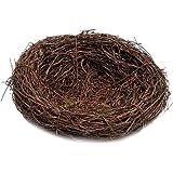 amleso 鳥の巣 籐の巣 インテリア ミニチュア ガーデン おもちゃ 茶色 - 8cm