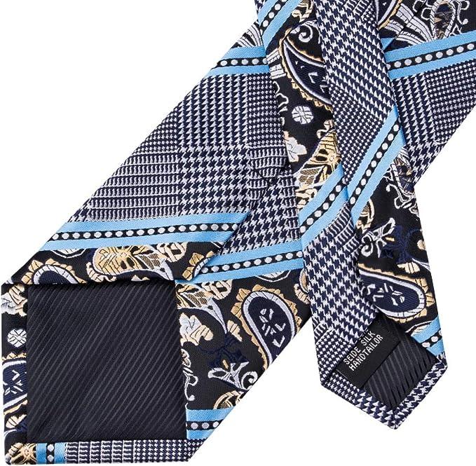 HYCZJH Lazos de Seda Azul de Moda para los Hombres Raya Corbata ...