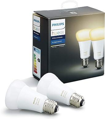 Philips Hue White Ambiance - Pack de 2 bombillas LED E27, 9W ...