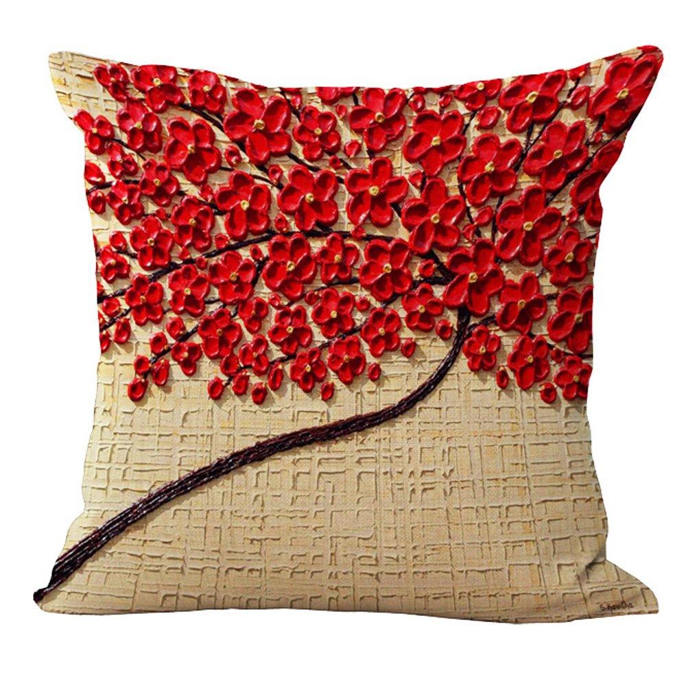 Coton et lin #01, 01 Housses de coussin (45/cmx45/cm//18/x 18/trois Dimensions Peinture 3d S/érie arbres Fleurs Gris Rouge Bleu Coton coussin en lin pour canap/é My-p1011