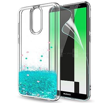 LeYi Funda Huawei Mate 10 Lite Silicona Purpurina Carcasa con HD Protectores de Pantalla,Transparente Cristal Bumper Telefono Gel TPU Fundas Case ...