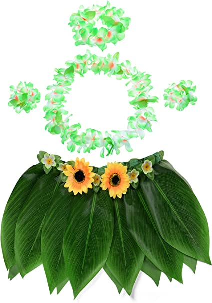 Ti Leaf Hula Skirt with Hula Grass Hawaiian Leis Set Grass Skirt with Artificial Hibiscus Flowers for Hula Costume and Beach Party