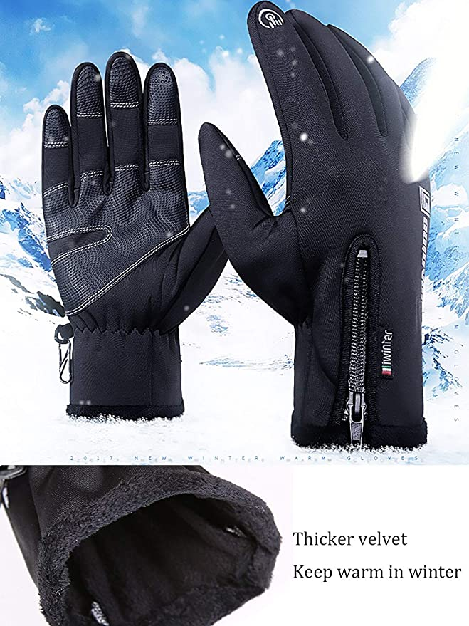 Bonvince Cycling Gloves Touchscreen Double Layer Winter Gloves for Ski Snowboard Bike Running Motorbike