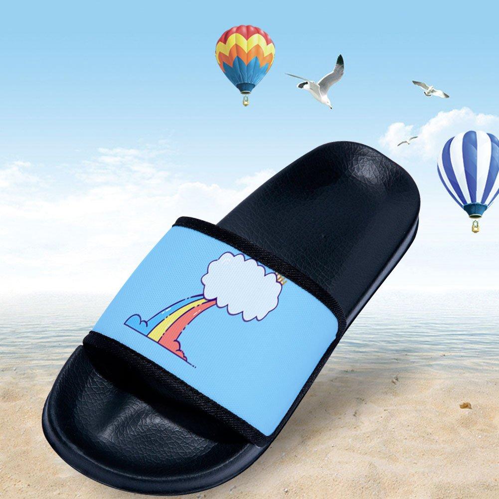gordonKo Girls Boys Slide Sandals with Rainbow Soft Non-Slip Shower Slippers Shoes
