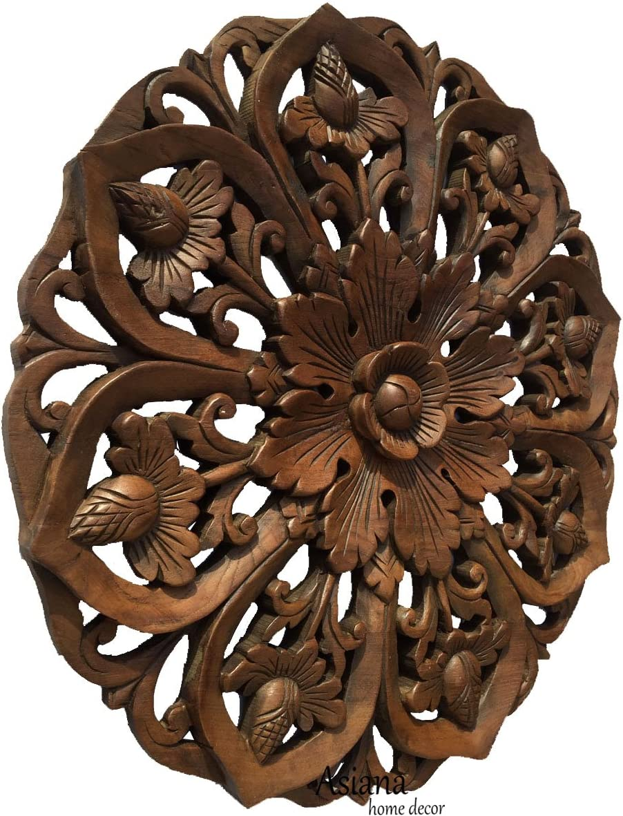 Lotus Wood Carved Wall Art Round Plaque.Tropical Bali Floral Rustic Home Decor. 24