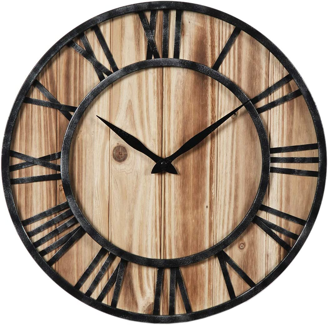 LDB SHOP 60cm Madera Reloj de Pared Grande XXL Vintage Reloj Gigante Pared Reloj de Pared Silencioso para Cocinas Dormitorios Oficinas Sala