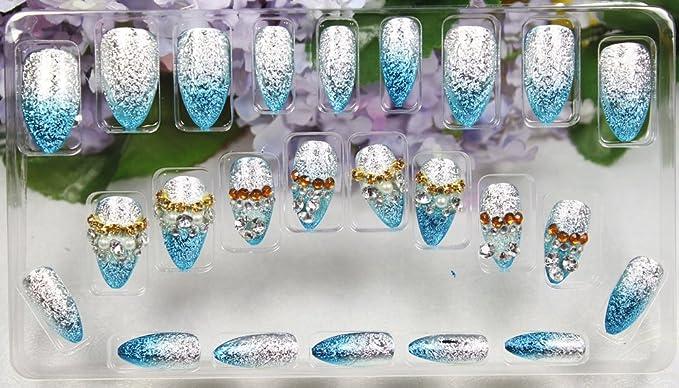 GGSELL LIQI - Uñas postizas decoradas (24 unidades, con pegamento), color blanco y azul claro con purpurina: Amazon.es: Belleza