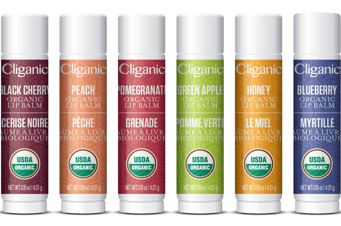 Cliganic Organic Lip Balm Set - 6 Tropical Flavors - 100% Natural Moisturizer for Cracked & Dry Lips