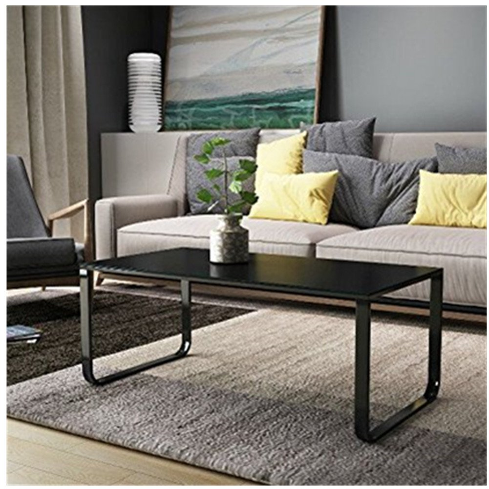Ofcasa black modern coffee table end side table glass top living room furniture black legs multi colour retro coffee table metal frame tempered glass black