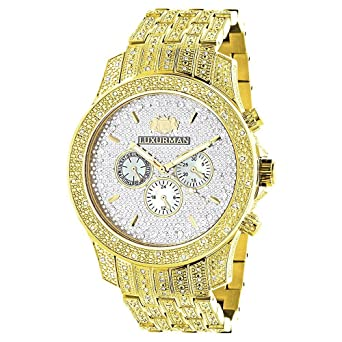 iced out luxurman mens diamond watch 1 25ct yellow gold tone iced out luxurman mens diamond watch 1 25ct yellow gold tone