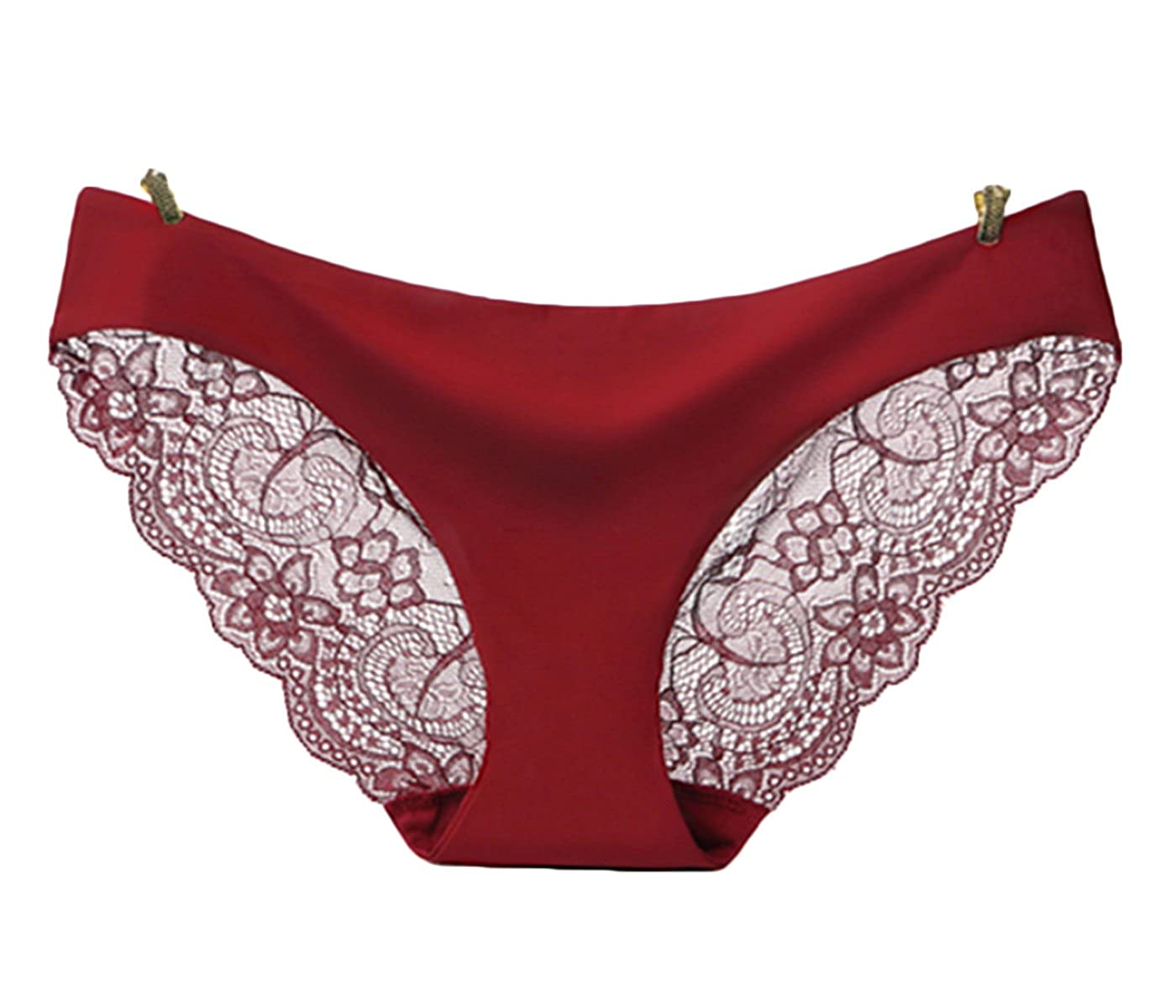 68696bdc378 Lace Sexy Ladies Panties Pure Color Ice Silk One-Piece Seamless Underwear  Cotton Low Waist Briefs at Amazon Women s Clothing store