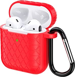 Airpods Case, Accessories Shockproof Case Cover Portable & Protective Silicone Skin Cover Case for Apple Airpods Charging Case (Red